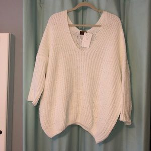 White vneck sweater